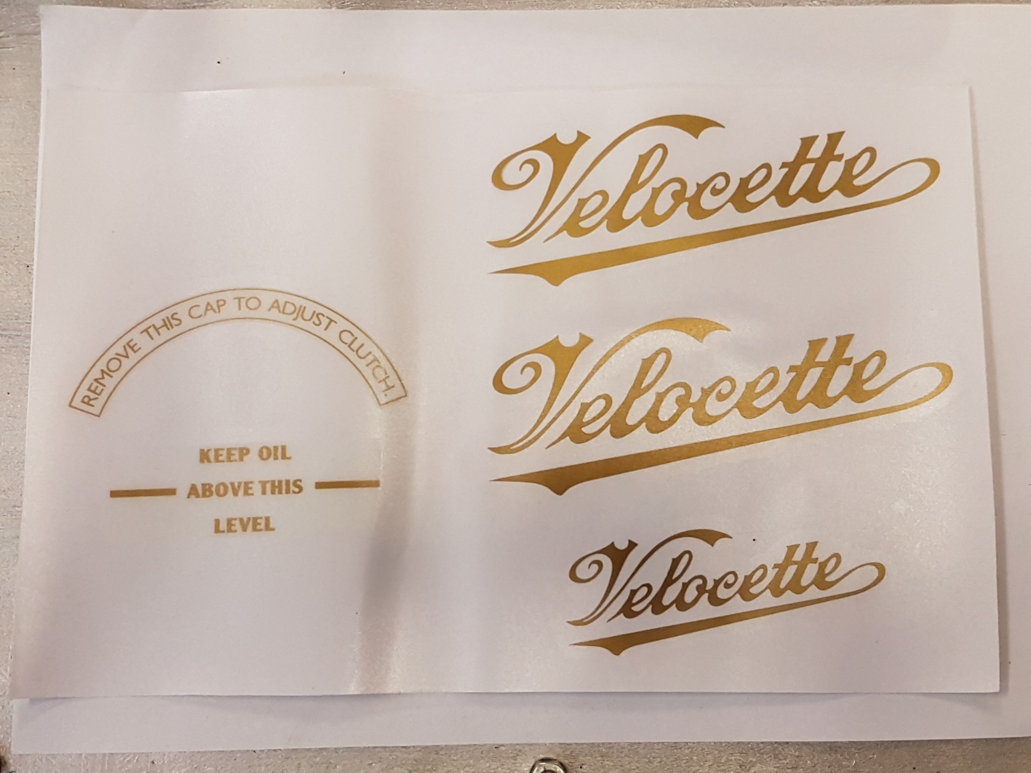 Rigid Velocette Decal set