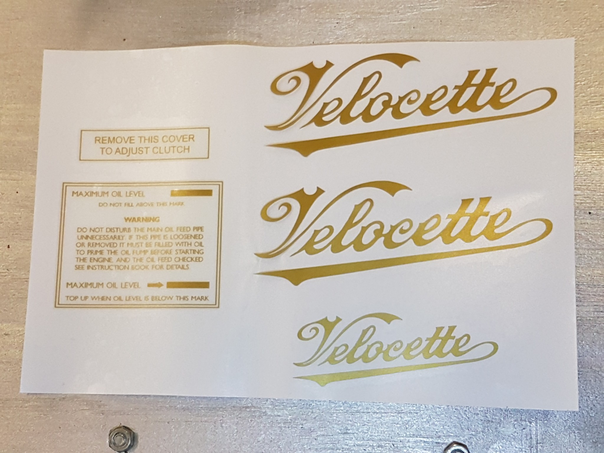 Swing arm Velocette decal set